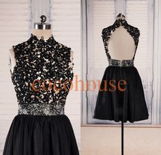 Black Lace Applique Beaded Short Prom Dresses Back by cocohouse