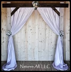 Rustic Wood Wedding Arch And Fabric Backdrop/Wedding Arbor For Indoors/Country Wedding Decor/Dark Walnut & Weathered Ivory/Shipping Included