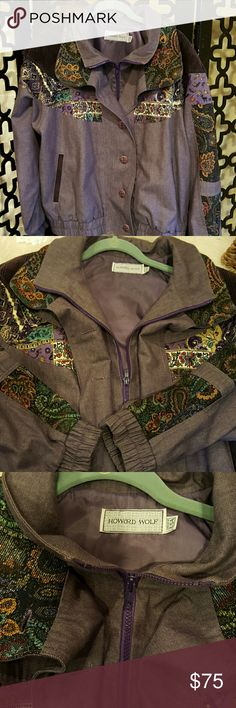 HOWARD WOLF PURPLE PATCHES BOMBER VINTAGE, CLEANED, NO FLAWS. Size 8. 100% cotton, lined in purple. Posted pucs to show the purple front zipper and it buttoned all the way. Or can wear open. 3 inch elastic all around the bottom and edge os sleeves. Chest is 40 inches, length is 28 inches. Wide sleeves at 11inch, 23 inch long sleeve length. Vintage Jackets & Coats