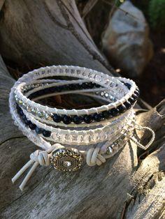 Custom Beaded Leather Wrap Bracelet by SilveryBeachDesigns on Etsy, $30.00
