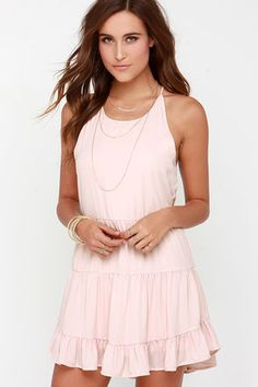 Blush Pink Dress - Backless Dress - Braided Dress - $38.00