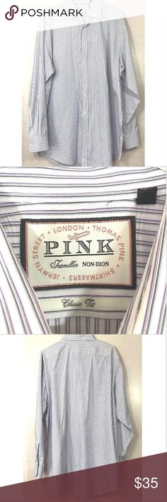 813ad7c8965 PINK Thomas Pink Mens Button Front Shirt Striped Great Condition PINK  Thomas Pink Button Front Shirt