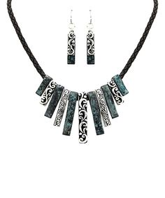 Look at this MOA International Corp Turquoise & Black Cord Bib Necklace & Earrings on #zulily today!
