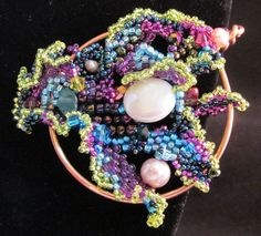 Freeform Peyote Stitch Shawl Pin by OpulentAdornment on Etsy