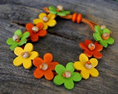 FREE SHIPPING Lime Orange and Lemon Leather Zinnia by SAjolie, $25.00