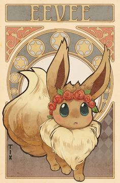 "the-tix: ""Art nouveau eevee! Eevee Wallpaper, Cute Pokemon Wallpaper, Cute Cartoon Wallpapers, Eve Pokemon, Cool Pokemon, Cute Pokemon Pictures, Pokemon Images, Kawaii Drawings, Cute Drawings"