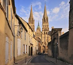 Bayeux, Normandy - the 11th century gothic cathedral rises above the medieval town.