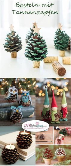 Basteln mit Tannenzapfen – Die 15 schönsten DIY Bastelideen Artesanato com pinhas - as 15 idéias de artesanato DIY mais bonitas craft home Christmas Crafts For Kids, Diy Christmas Ornaments, Holiday Crafts, Christmas Time, Christmas Gifts, Holiday Decor, Pinecone Christmas Crafts, Diy Christmas Easy, Christmas Decorations Pinecones