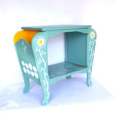 AQUA SIDE TABLE /Repurposed Hand Painted Whimsical Magazine Table