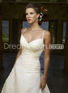Pretty A-Line Spaghetti Straps Floor-length Chapel Ruffles Wedding Dresses