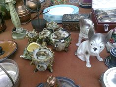 Shell Tea Service and dogs...