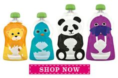 Squooshi | The best reusable, refillable food pouch for baby food, yogurt, applesauce, smoothies and more! Perfect for an on-the-go meal or a lunch box snack. Squooshi pouches are loved by parents, babies and kids of all ages! Fill, eat, wash, repeat. It's that easy!