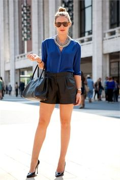 Leather shorts at NYFW