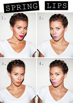 Spring lipstick shades. def not a fan of orange and the purple is debatable . .