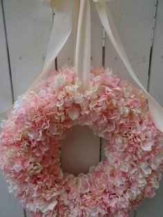 Hydrangea Wreath Pink Hydrangea Wreath Baby Shower Wedding Decor Easter Wreath Spring and Summer Wreath : Hydrangea Wreath Pink Hydrangea Wreath Baby Shower Wedding Decor Easter Wreath Spring and Summer Wreath by donnahubbard on Etsy Pink Wreath, Twig Wreath, Hydrangea Wreath, Pink Hydrangea, Mesh Wreaths, Pink Dogwood, Tulle Wreath, Floral Wreaths, Burlap Wreaths