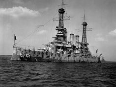 The first battleship USS New Jersey; her cage masts and superposed turrets mounting rifles of different calibers strike me as the goofy brainstorms of desk-bound mariners. I wonder what real sailors thought of them?