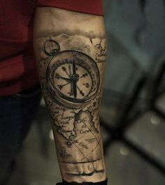 Compass With Map Awesome Mens Realistic Forearm Tattoos