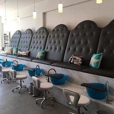 We love this mermaid lounge by @lasirenanailandbeautybar !  The light blue Mediterranean bowls look modern and sophisticated in this elegant pedicure station.  #pedicurebowls #pedicure #nails #nailsalon #lounge #beautybar #noelasmarpedicurebowls #pedi #manipedi #nailart #salon #spa