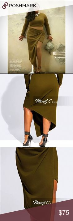 Monif C 2 Piece Hunter Set Monif C 2 Piece Hunter Set Hunter cropped top and asymmetrical skirt in olive green. Size 2x 2pc Set. New with Tags Monif C. Dresses Asymmetrical