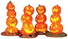 Lemax 34623 Light Up Pumpkin Stack (4) Spooky Town Accessory Village Halloween Decor O G Scale Lemax $21.99