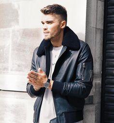 BODA SKINS Aviator Leather Jacket.
