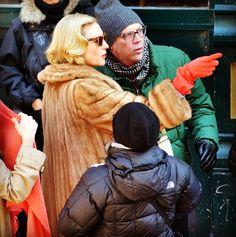 "Cate Blanchett and Director Todd Haynes filming ""Carol"" in Cincinnati, OH."