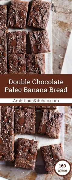 Incredible double chocolate paleo banana bread bars made with almond and coconut flour. This no sugar added treat only takes 30 minutes from start to finish and tastes AMAZING! paleo lunch for men Banana Bread Bars, Paleo Banana Bread, Chocolate Banana Bread, Paleo Chocolate, Chocolate Muffins, Paleo Dessert, Healthy Desserts, Healthy Treats, Dessert Recipes
