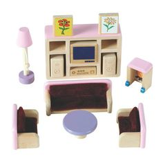 Wooden Dolls House Living Room Furniture