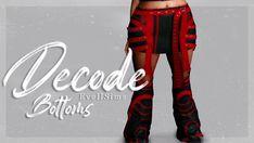 Decode Bottoms | EvellSims on Patreon Decoding, Sims 4 Custom Content, Sims Cc, Swatch, Maxis, Fashion, Moda, Fashion Styles, Fashion Illustrations
