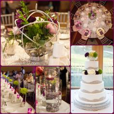 Purple & green for this fall reception. Love the centerpiece globes!