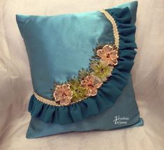 Cushion Embroidery, Embroidery Flowers Pattern, Silk Ribbon Embroidery, Embroidery Designs, Bow Pillows, Sewing Pillows, Dress Neck Designs, Designs For Dresses, Designer Bed Sheets