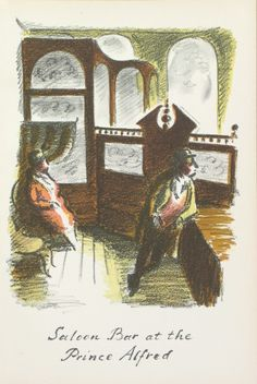 Edward Ardizzone - Saloon Bar at the Prince Alfred From The Local, a series of lithographs depicting London pubs. Edward Ardizzone, Maida Vale, English Writers, 16 October, London Pubs, London Photos, Editorial Design, The Locals, Weaving