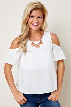 This Moment On White Cold Shoulder Top at reddressboutique.com