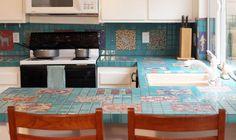 Turquoise mosaic kitchen countertop tiles