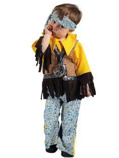 DisfracesMimo, disfraz de hippie niño varias tallas.Los pequeños de la casa se convertirán en seguidores del movimiento pacifista de paz y amor.Este disfraz es ideal para tus fiestas temáticas de disfraces hippies Años 60,70 y 80 para niños infantiles