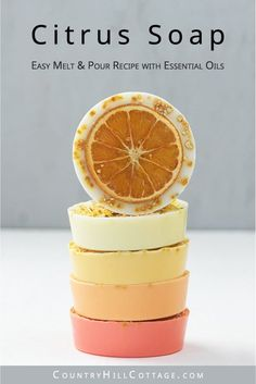 This homemade citrus soap recipe has an uplifting scent, rich lather and many skin care benefits. Natural DIY lemon soap bars are made with goat milk, shea butter or glycerin melt and pour base and essential oils - ideal for soap making for beginners! The handmade tutorial shows how to make melt and pour soap, gives different citrus essential oil blends for soap, tips for molds, packaging ideas and more recipes inspiration. Cute hand soap teacher gift! #soap #soapmaking   countryhillcottage.com Handmade Soap Recipes, Soap Making Recipes, Bath Recipes, Homemade Soap Bars, Lemon Soap, Soap Tutorial, Essential Oils Soap, Shea Butter Soap, Organic Soap