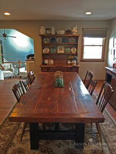 This Reclaimed Barn Wood Sawbuck Trestle Table Is A Focal Point In The  Dining Room. Three Inch Thick Reclaimed Fir Was Left Its Natural Color And  Given A ...