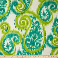 Screen printed on cotton duck; this versatile, medium weight fabric is perfect for window accents (draperies, valances, curtains and swags), accent pillows, bed skirts, duvet covers, slipcovers, upholstery and other home decor accents. Create handbags, tote bags, aprons and more. Colors include jade, lime and off white.