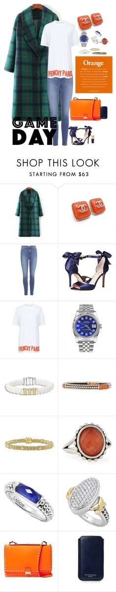 """""""Orange and Blue."""" by kappiblu on Polyvore featuring Chanel, Paige Denim, Kate Spade, Givenchy, Rolex, Lagos, Valentino, Aspinal of London and Yves Saint Laurent"""