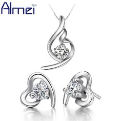 Find More Jewelry Sets Information about Almei Statement Necklace Earrings Engagement Heart Jewelry Sets White Purple Rhinestone Cubic Zirconia Silver Necklace T020,High Quality jewelry boots,China jewelry clip art free Suppliers, Cheap jewelry patch from ULove Fashion Jewelry Store on Aliexpress.com