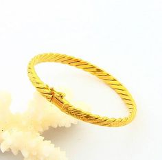 Fashion 24K Gold Plated Bangle Yellow Gold Golden Bangle Bracelet Men&Women Wedding Gift YHDB011