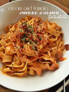 Cream and Tomato Smoked Salmon Pasta