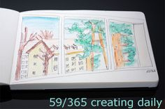 """Project """"365 - creating daily"""" day 59:  the view out of my window - sketch  Anke Humpert 2/2014  #365creatingdaily"""