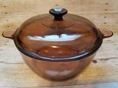 5 Qt L Corning Visions Dutch Oven Stock Pot Amber Glass Pyrex Cookware Dutch Oven, Wok, Cookware, Amber, Cooking, Iron Pan, Diy Kitchen Appliances, Kitchen, Kitchen Gadgets
