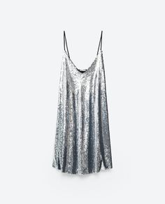 Slip dress à sequins argent Zara
