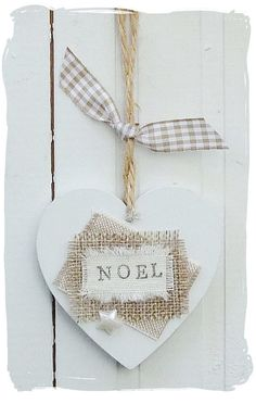 Wooden Heart Christmas NOEL Decoration by bynicki on Etsy