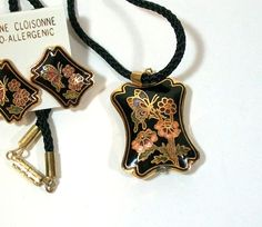 Black Enamel Cloisonne Butterfly Necklace and Earrings by thedepo,