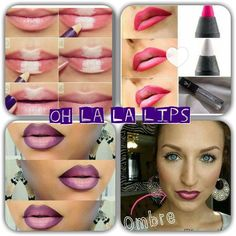 Younique Ombre lips are soooooo hot right now! Here's how to create yours with Younique's Pristine White Eye Liner and lip liners.https://www.youniqueproducts.com/Wendyspatolaclay