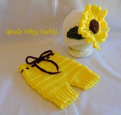 Crochet Sunflower Newborn Short Set - Sunflower Hat - Yellow Baby Outfit - Crochet Summer Set - Photo Prop - Baby Girls - Crochet Sunflower by stewiecakes on Etsy