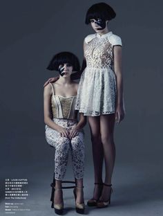 "Polina and Daria in ""Twins"" by Lamb Yu for Harper's Bazaar Hong Kong, February 2013"